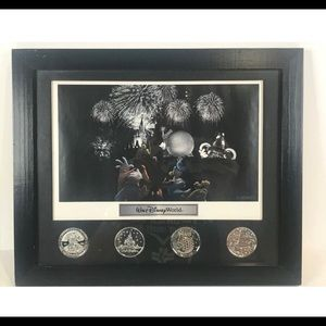 Disney World 4 Parks Coins Framed Picture